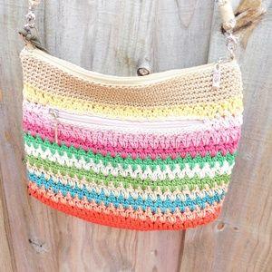 The Sak Striped Crochet Crossbody Purse Bag